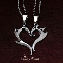 Free shipping 316L Stainless Steel Heart Pendant Chain Necklaces Couple Necklaces Gift Jewelry for Men Women Lovers Wholesale(China (Mainland))