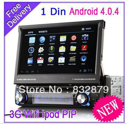 Android 4.0 1 din detachable car dvd Player with GPS WIFI 3G Car Radio stereo Video 7'' 3D UI PIP BT IPOD TV 4G sd map GL-8300(China (Mainland))