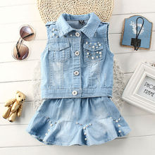 2016 new fashion children clothing denim 2 pcs set shleeveless denim shirt and denim kilt for baby girls big stock hot sale