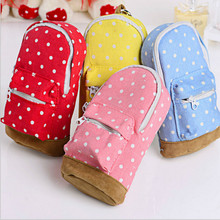 Korean Big Capacity Canvas Backpack Polka Dot Pencils Bag Pencil Cases Pen Storage Cosmetic Bags for Women School Office(China (Mainland))
