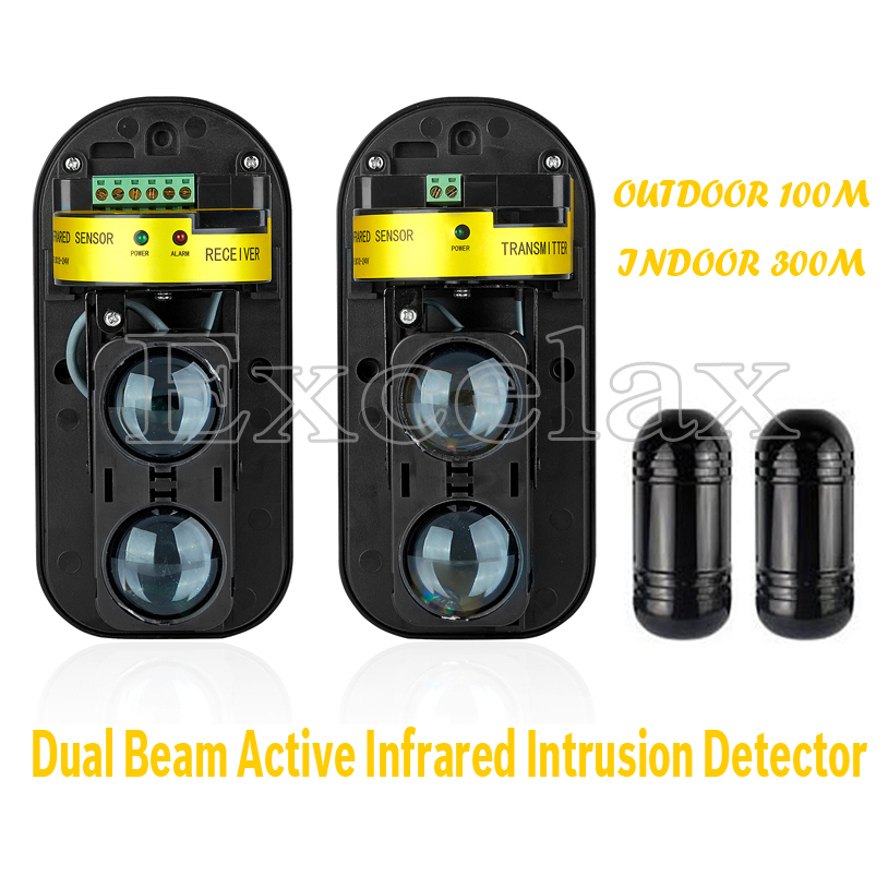 Photoelectric Dual Beam Sensor Active Infrared Intrusion Detector Perimeter Safety Window Wall Barrier IR Outdoor Motion Alarm(China (Mainland))