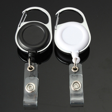 White Black Retractable Pull Key Ring ID Badge Lanyard Name Tag Card Holder Recoil Reel Belt Clip Metal Housing Plastic Covers(China (Mainland))