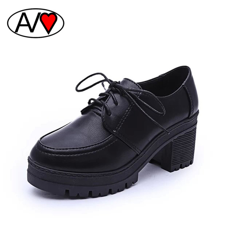 2016 Spring Ladies Small Leather Lacing Platform Thick Heels Shoe Women High Heels Solid Color Shallow Mouth Pumps zapatos mujer<br><br>Aliexpress