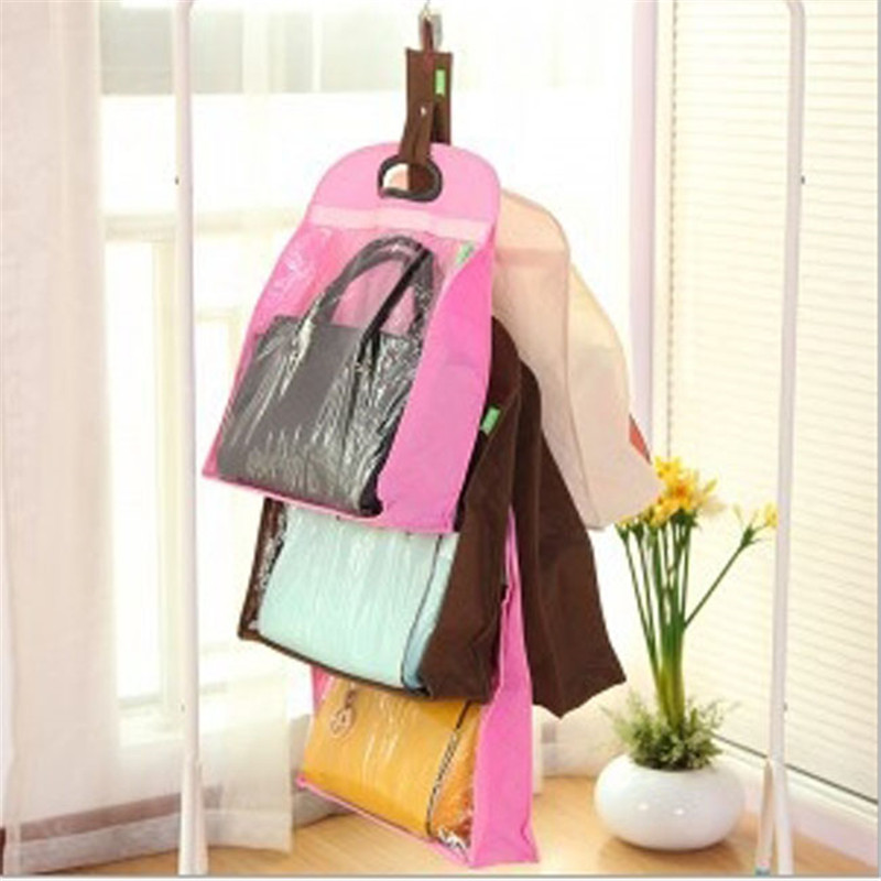 2016 Storage bags Hanging Transparent Non-Woven Fabric Wardrobe Dust Bag Handbag Clothes Finishing Pouch Dustproof 3 sizes(China (Mainland))