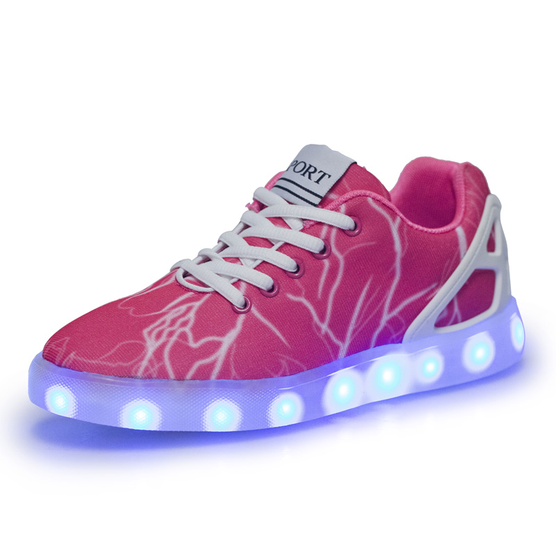 Free Shipping 2016 New Designer Peach Red Air Mesh Lightning Printing LED Light Flats Board Shoes Breathable Night Jogging Shoes<br><br>Aliexpress