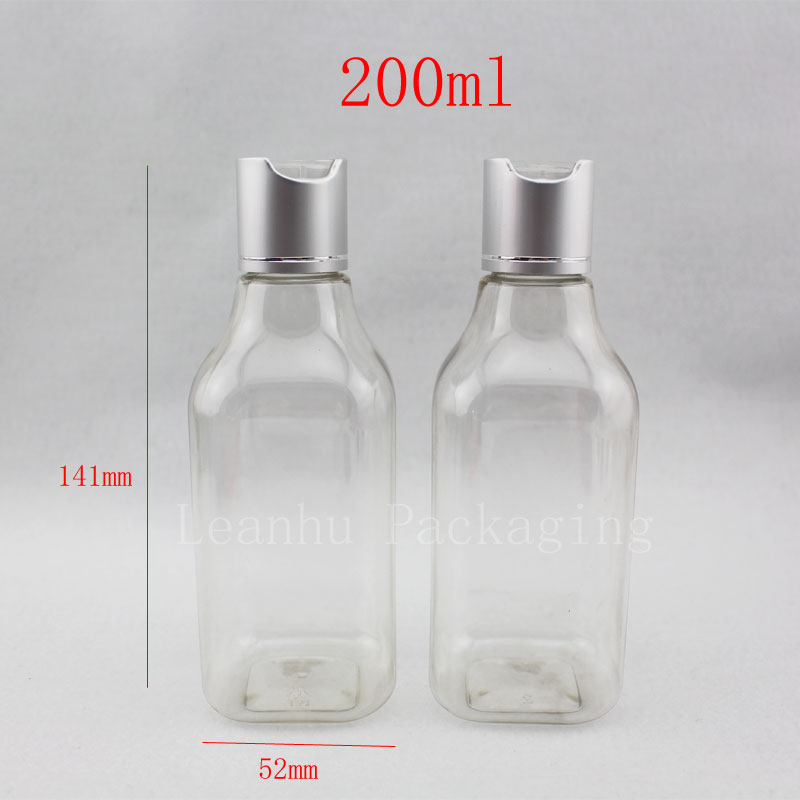 200ml empty transparent square lotion PET bottles with disc top, cosmetic packaging bottles,lotion bottles,essential oils,cream <br><br>Aliexpress