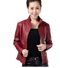 Free Shipping ! Women's  short design slim Stand Collar Large size Leather Coat,Female PU Fashion Jacket   L XL XXL XXXL-5XL(China (Mainland))