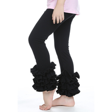 1 PCS mode Leggings solide mou noir enfants fille pantalons filles Boutique pantalons filles pantalon à volants bébé Leggings(China (Mainland))