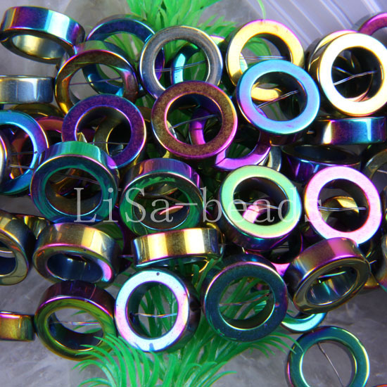 """Free Shipping Fashion Jewelry Ring 12x8MM Multi-color Non magnetic Hematite Beads Strand 15.5"""" A020(China (Mainland))"""