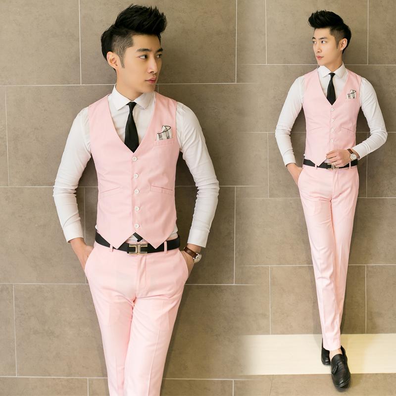 2016 New male fashion pure color slim gentleman V-neck suit vest / Men's boutique quality business suit vest brooch decoration