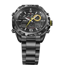 WEIDE WH 3403 Men s Casual Stainless Steel Analog Digital Water Resistant Wristwatch Black Yellow