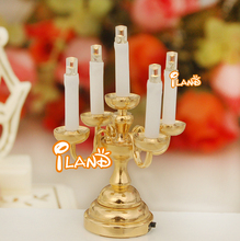 iland 1/12 Dollhouse Minatures 5 candles LED Table Lamp Battery Operated LD010E(China (Mainland))