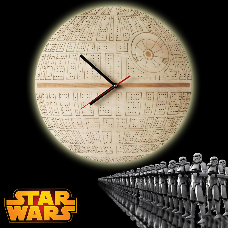Free Shipping 12 Pieces The Force Awakens ! Laser Engraved Death Star Clock Designer Wooden Wall Clock(China (Mainland))