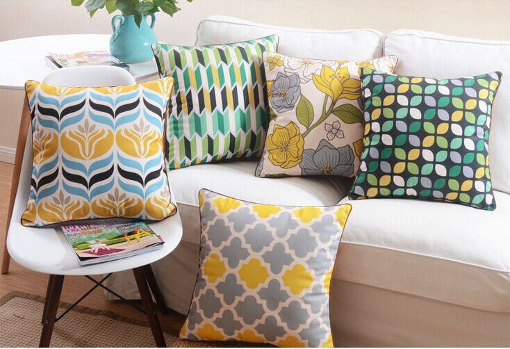 6 pcs g om trique place taie d 39 oreiller coussins jaune bleu gris moderne d cor la maison - Coussin rectangulaire pour canape ...