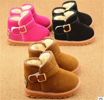 Factory Price 2015 Baby Winter Shoes Classic Cute Girls Winter Boots Boys Snow Boots Plus Thick Cow Muscle Sole Solid Size21-25