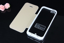 High Capacity 3500mah Rechargeable External Backup Battery Charger Case For iphone 5 5S Flip Cover Power Bank Case Metal frame