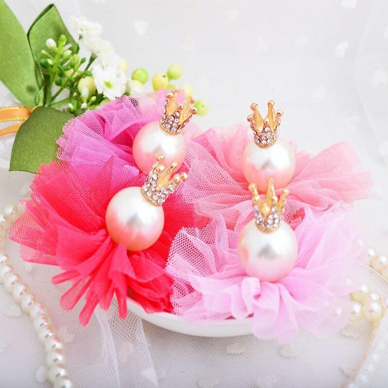 Crown Pearl Net Yarn Hairpins Hairpin Children Baby Tiaras Hairclips Kid Girl Modern Ornament Accessory Party Birthday Headwear(China (Mainland))