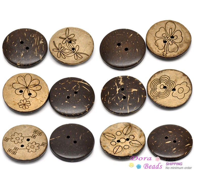 """30PCs Brown Mixed Pattern Coconut Shell 2 Holes Sewing Buttons Scrapbooking 30mm(1 1/8"""") (B20396)(China (Mainland))"""