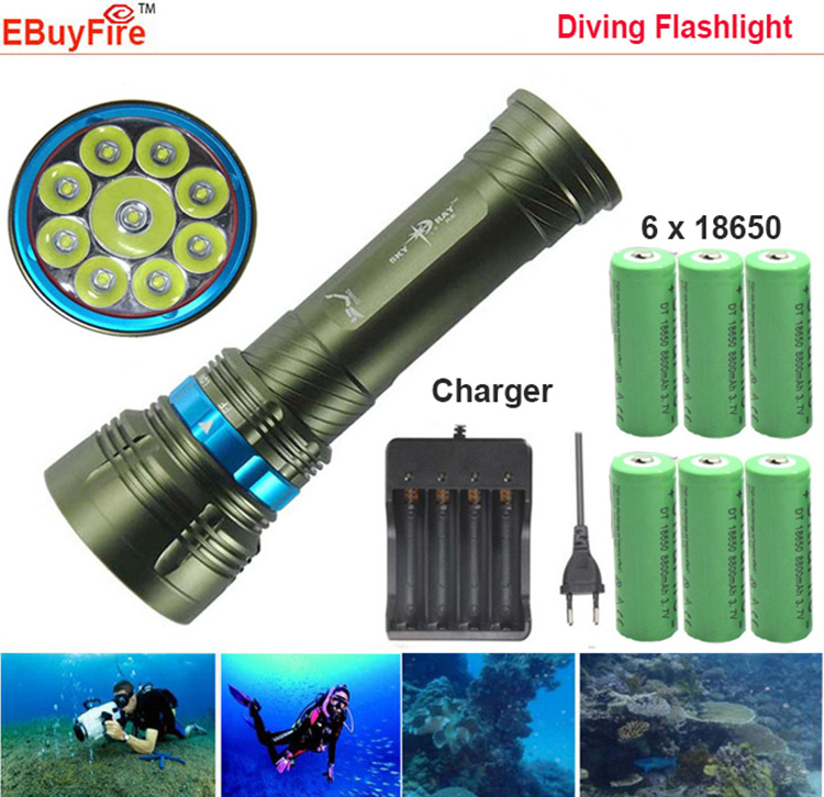 18000 LM Diving Led Flashlight 18650 Underwater Torch 9L2 9x CREE L2 Diving Flash light Diver Light with 6x18650 Battery(China (Mainland))