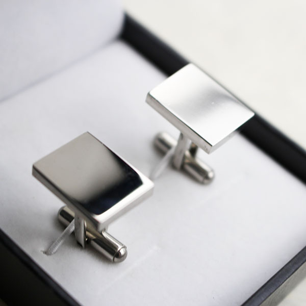 Cufflink jewelry 316L stainless steel fashion men's cufflinks rectangle shape business cuff links blank cufflinks sets for men(China (Mainland))