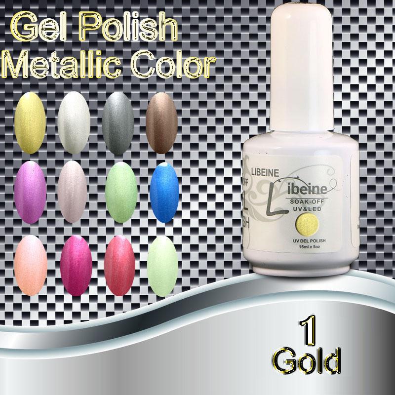 Fashion 2015 New Packing 12 Colors Soak off Metallic UV Led Gel Nail Polish Color Gel Polish #1-gold Free Shipping Wholesale(China (Mainland))