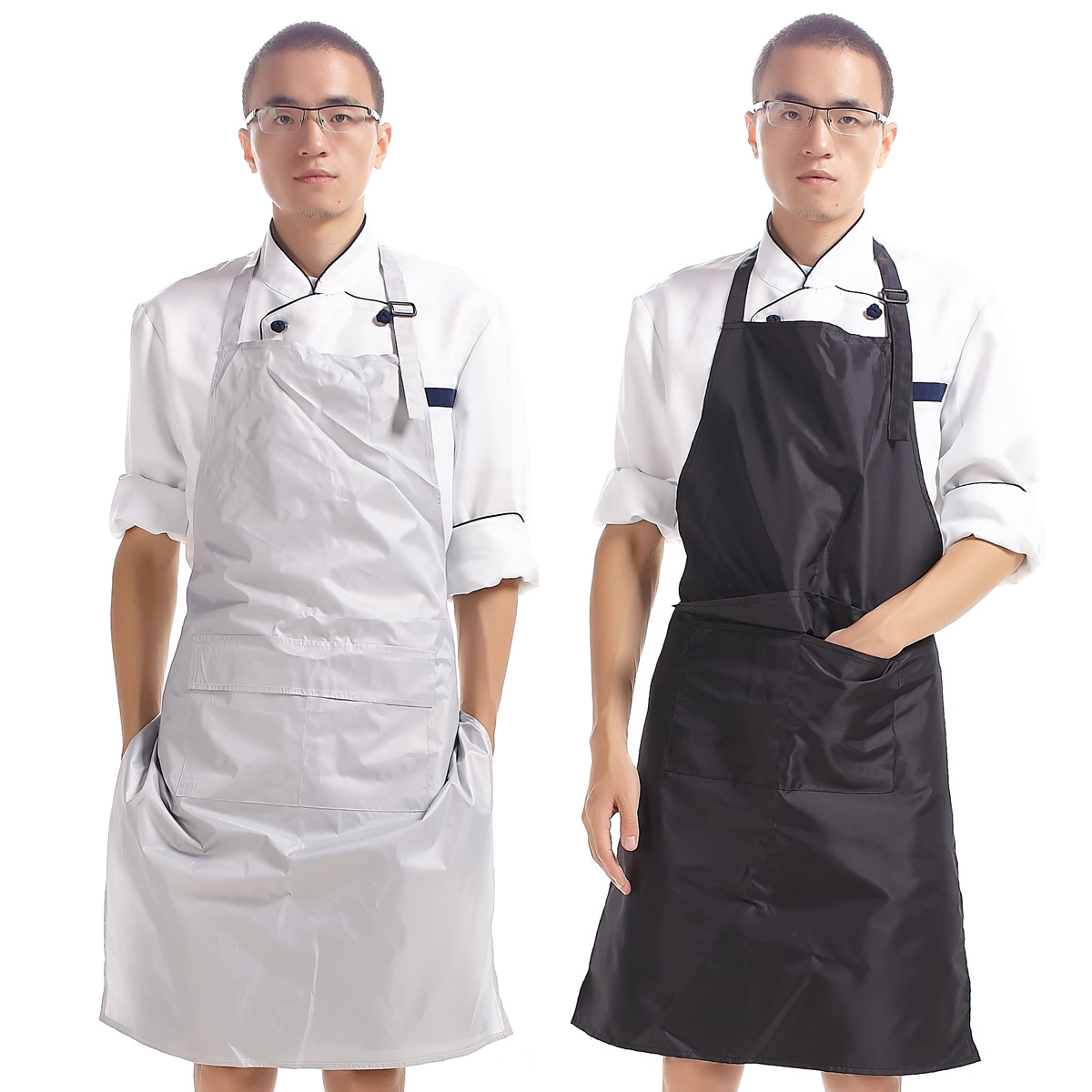 Hot sale PVC kitchen long section simple male apron anti-oil, waterproof adjustable halter male apron+Oversleeves Model 20020(China (Mainland))