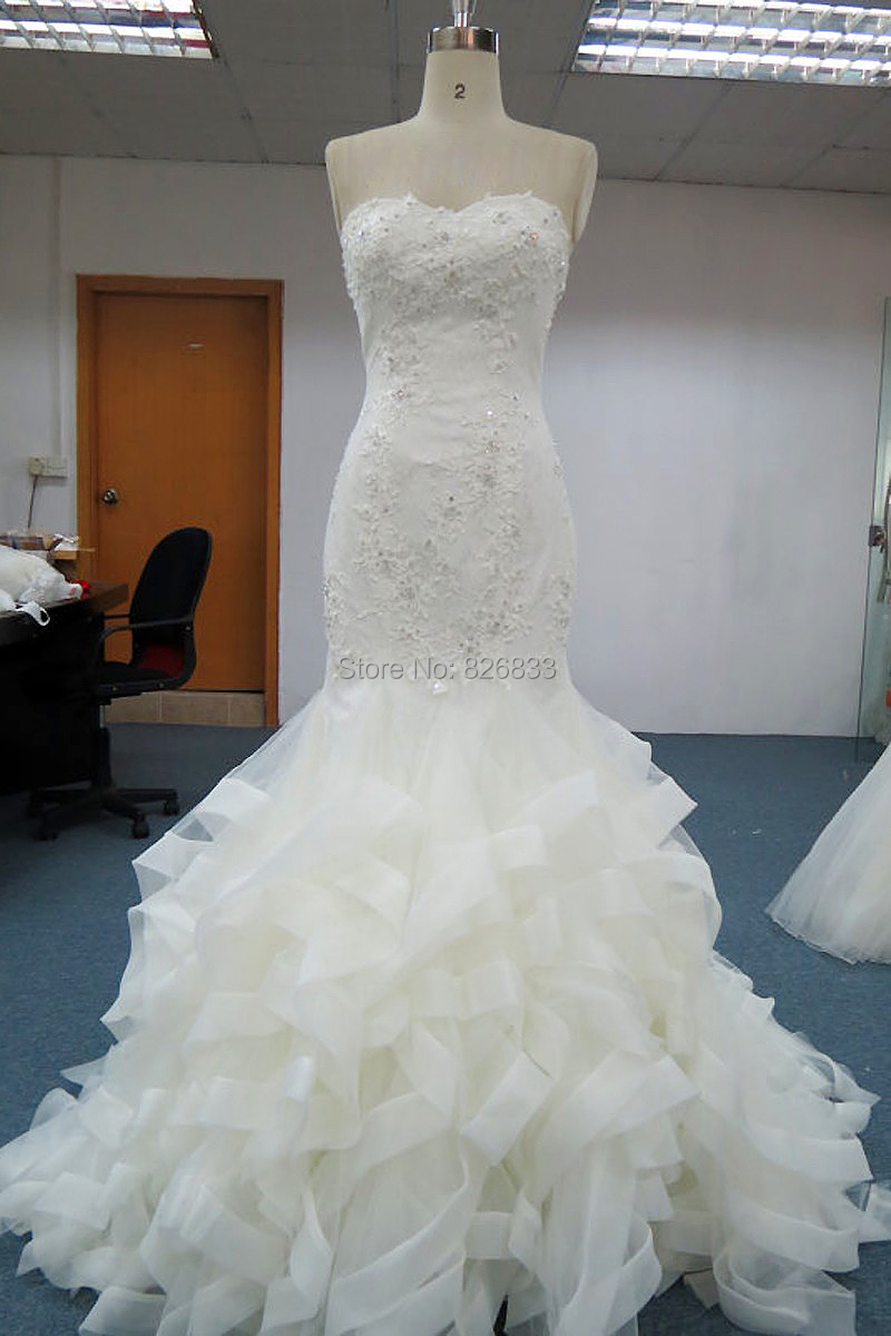 Real sample mermaid wedding dresses long sleeveless court for Mermaid wedding dress with train