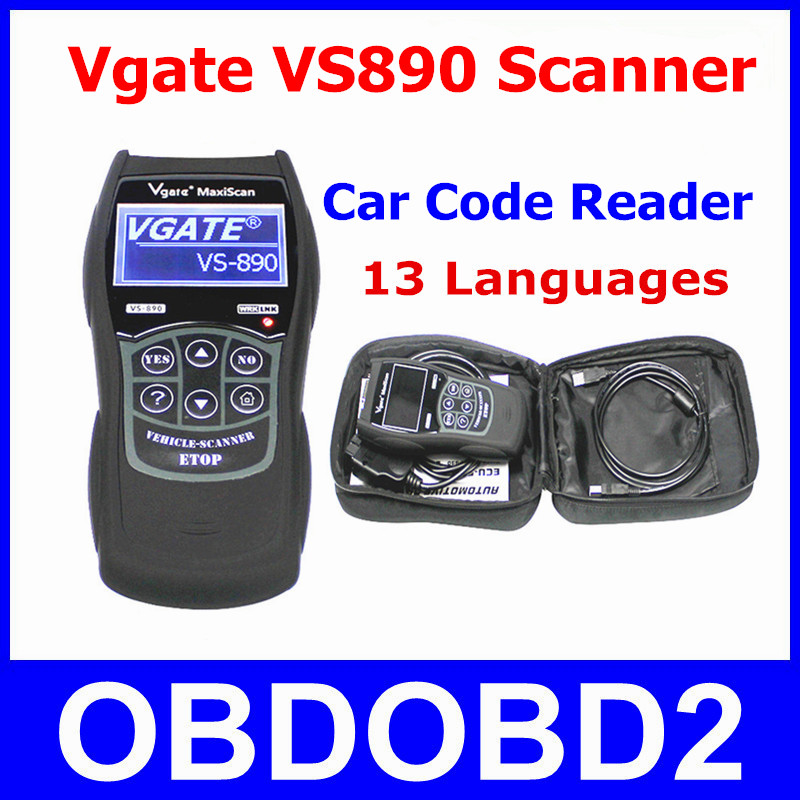 Live Data Scanner Vgate VS890 OBD2 Car Code Reader VGATE VS-890 Read All DTCs OBDII VS 890 Reset Engine MIL LCD Multi Lanugages(China (Mainland))