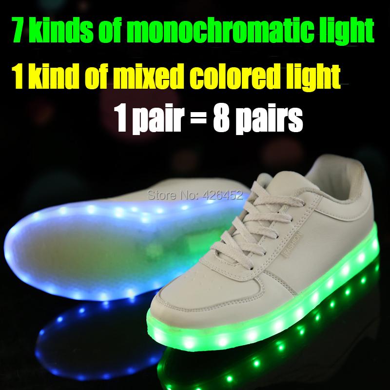8 Colors 2015 New Fashion Hot Selling Emitting Luminous Casual Shoe Men Women Couple LED Sneakers USB Charging Lights shoes(China (Mainland))