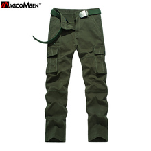 MAGCOMSEN Pure Cotton Cargo Pants Men Solid Straight Multi Pockets Pants Trousers Brand Clothing Pantalones Hombre AG-BDC-09(China (Mainland))