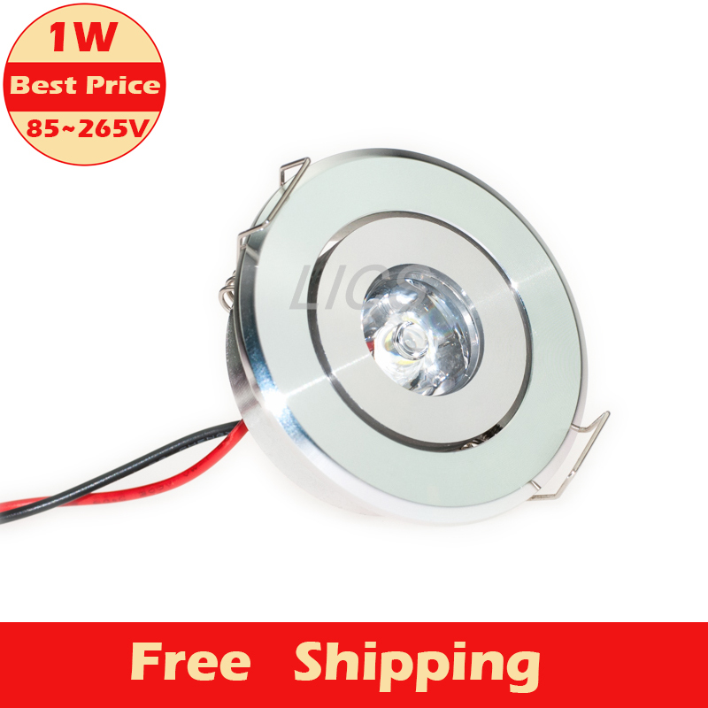 Hot Sale 1pcs 1W Cabinet LED Mini Downlight AC 85-265V Silver Shell Ceiling Recessed Light with LED Driver Warm / Nature White(China (Mainland))