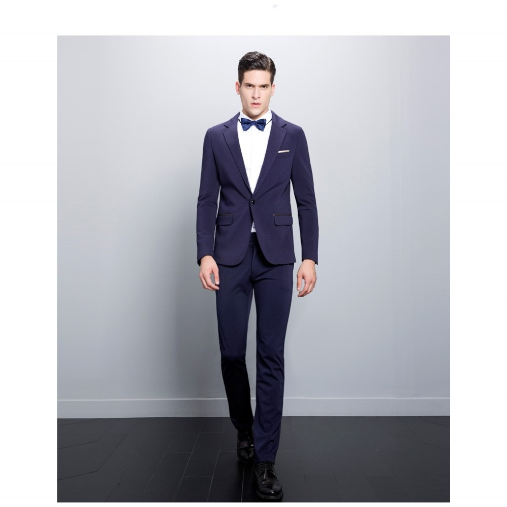 2015 Male Suits Groomsman Tuxedos Wedding Suits Purple Simple Bow Tie-in Suits from Men's ...