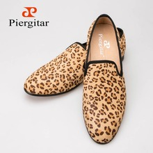 Horsehair Leopard Print Suede Men Shoes Men Loafers Smoking Slipper Men Flats Size US 6-13 Free Shipping