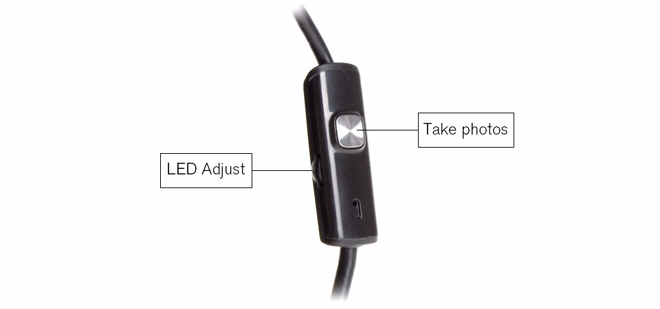 HD 7mm Lens Hard Cable Android Endoscope Camera 6LED Waterproof USB Endoscope Camera Rigid Cable Snake Industrial Endoscope