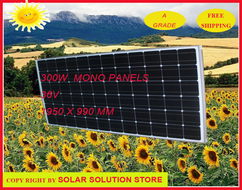 Free shipping 300W Solar panels A grade monocrystalline silicon in 2015 new solar system(China (Mainland))