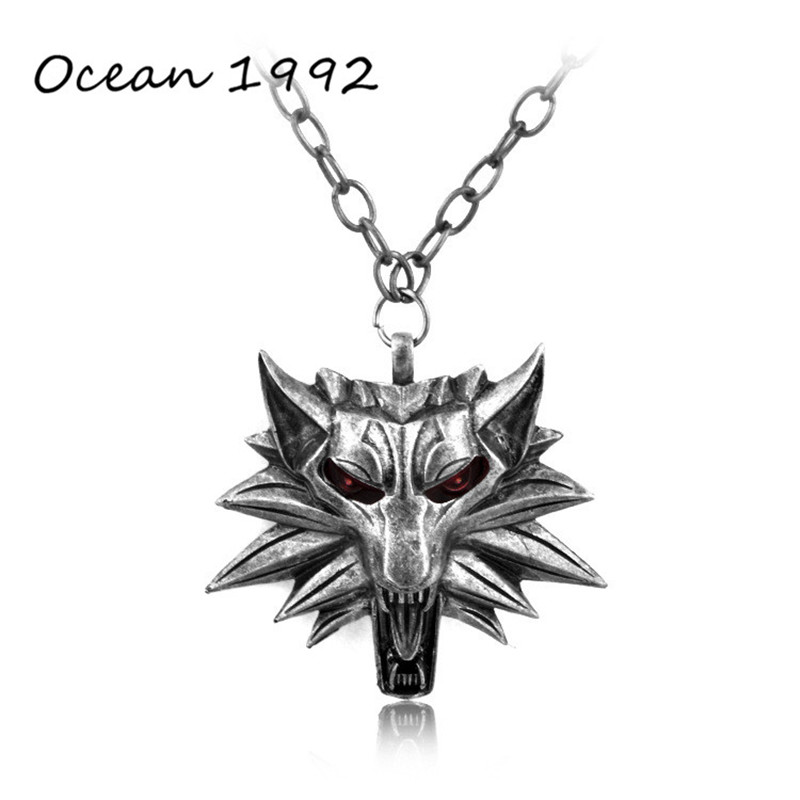 OCEAN Hot Sale Wizard Witcher 3 Medallion Pendant Necklace Wolf Head Necklace U Pick Color Halloween Necklace(China (Mainland))