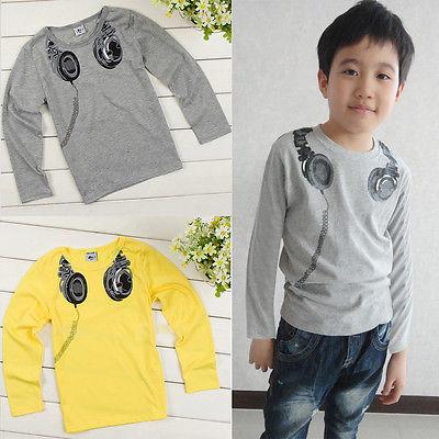2015 Baby Boys Kids Headphone Print T Shirt Long Sleeve Cotton T Shirt Childrens Tee Clothes(China (Mainland))