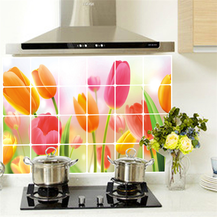 Red tulip flower kitchen vinyl wall stickers home decor for Deco salle de bain stickers