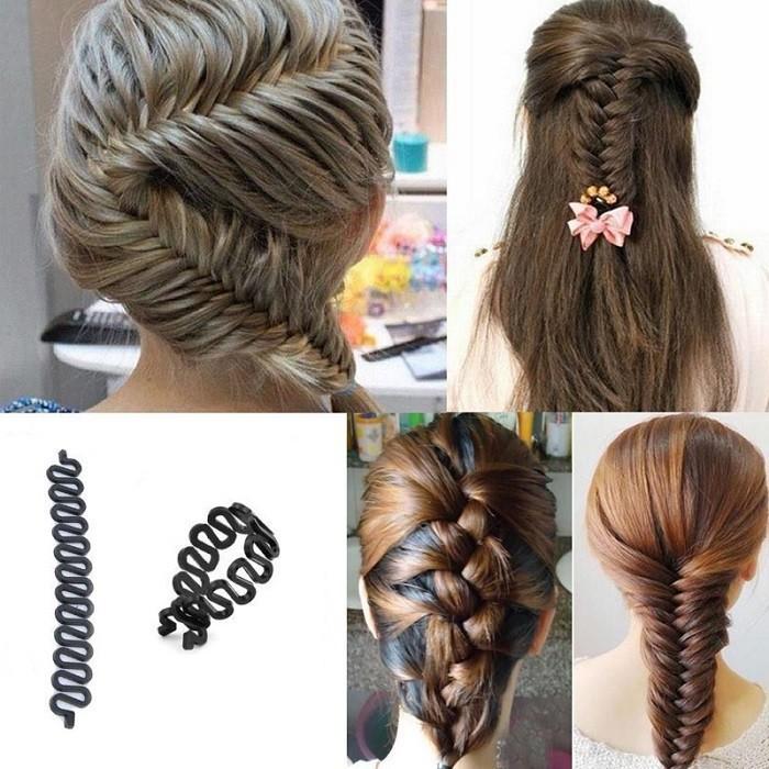 1 PC Women Lady French Hair Braiding Tool Braider Roller Hook With Magic Hair Twist Styling Bun Maker Hair Band Accessories
