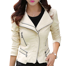 Plus Size M-5XL New Fashion 2015 Autumn Winter Women Leather Coat Female Slim Rivet Leather Jacket Women's Outerwear WWP108(China (Mainland))