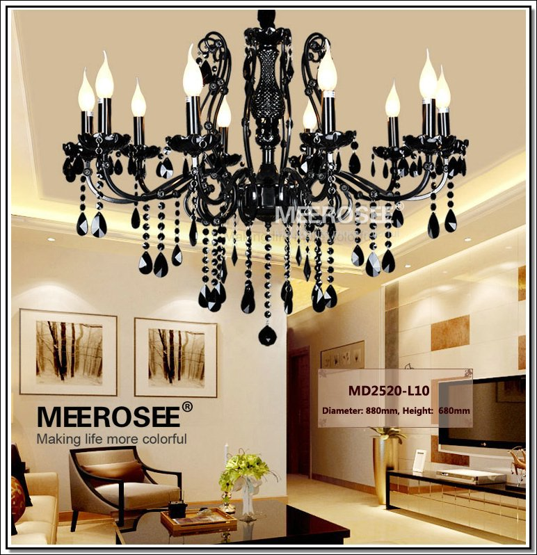 Vintage Black 10 Arms Chandelier Crystal Light Fixture Large American Wrought Iron French Style Chandelier Drop Light MD2520 L10<br><br>Aliexpress