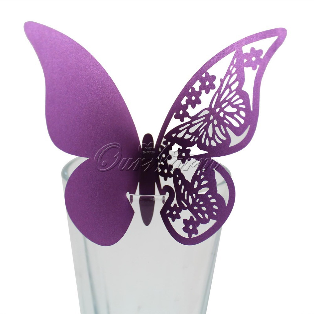 50 Pieces Table Mark Wine Glass Laser Cut Butterfly Name Place Cards for Wedding Party Decoration Products Supplies(China (Mainland))