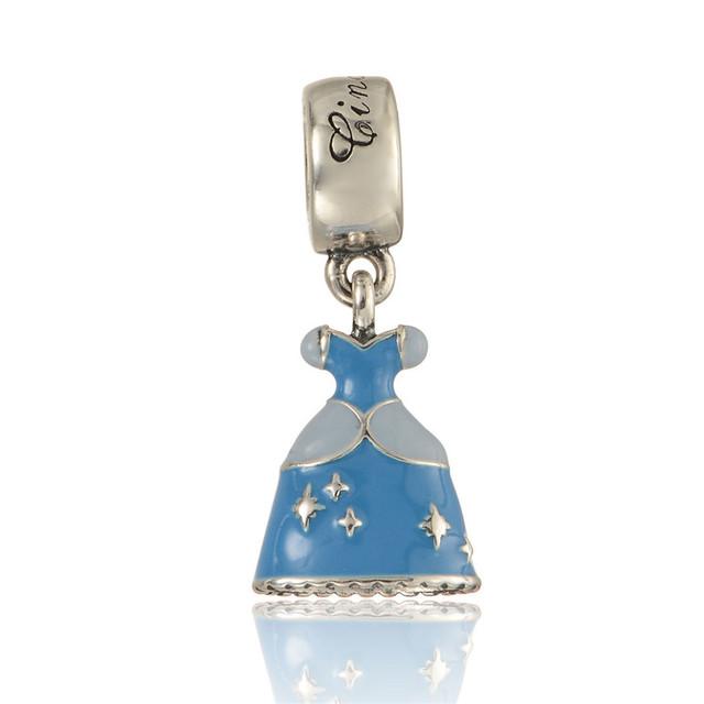 Сказка голубой эмалью платье мотаться бусины чистый 925-Sterling-Silver подходит пандора браслет DIY женщины ювелирных изделий