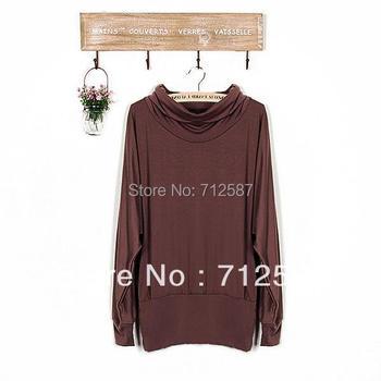 free shipping Women's Long Sleeve T-shirt Top Mini Dress Blouse Ruff Neckline Sexy 2 Colors #5117