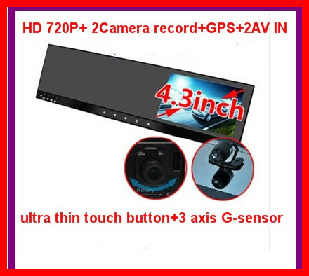 "4.3""rearview mirror car DVR HD dual camera front and back while recording+ Bluetooth phone handsfree +Gps track+Touch button(China (Mainland))"