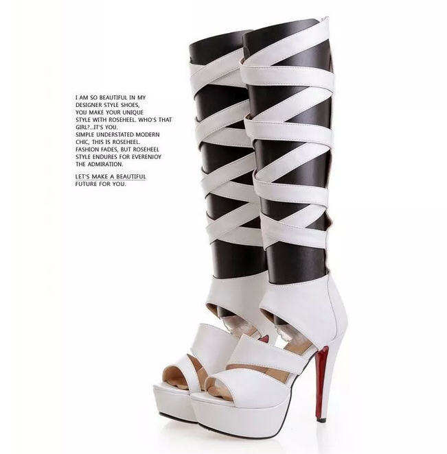 summer hot 2015 fashion gladiator sandals women knee high Roman sexy fish head tall cool boots small size 4 big size 10 11 D3747<br><br>Aliexpress