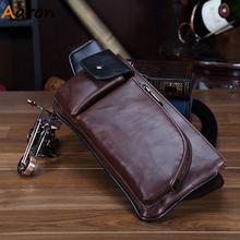 Aaron 2015 Summer Style Craze Horse Leather Men Waist Bag Vintage Molle Pouch Fanny Packs Outdoor