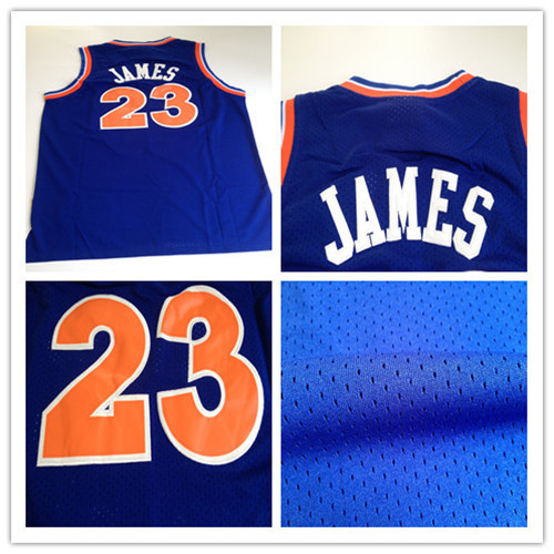 #23 LeBron James jersey,Mitchell and Ness Blue Stitched mens basketball jersey,Best quality,Embroidery Logos,Free shipping(China (Mainland))