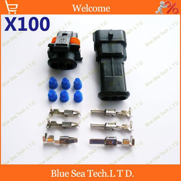 100 комплектов разъем 3pin 3.5 мм Автоматическая скорость воздушного потока сенсер разъем,нагрузка на ось/давление на входе разъем,водонепроницаемый разъем авто для Bosch