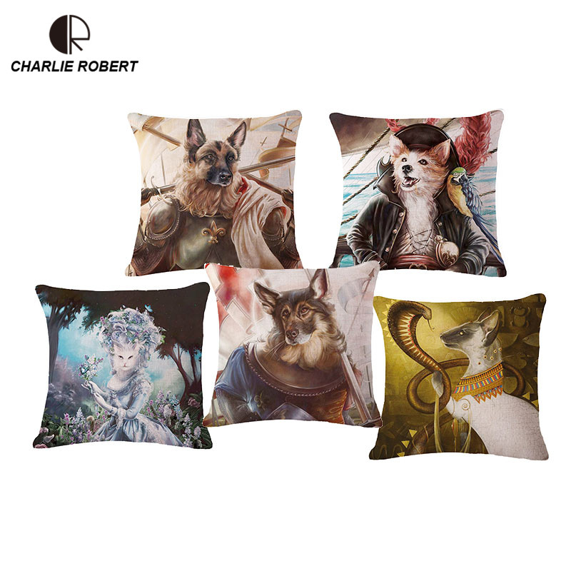 Cool Home Dog Cat 45*45cm Linen Home Sofa Chair Decorative Cushion Without Core Car Animal Throw Pillow Decorate Cojin HH945(China (Mainland))